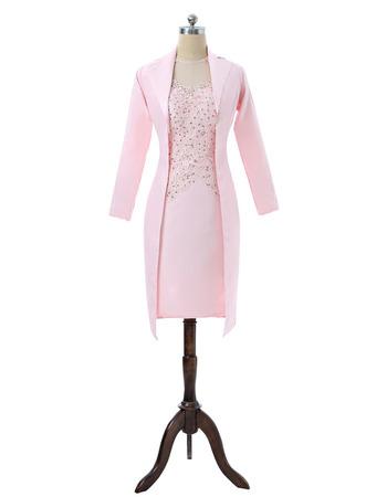 Custom Modest Sheath Long Sleeves Short Satin Formal Mother Dress with Jackets