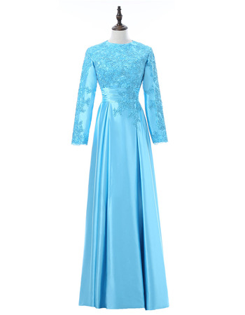 Vintage Floor Length Taffeta Formal Mother Dress with Long Sleeves