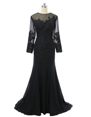 Custom Sheath Long Black Chiffon Tulle Plus Size Mother Formal Dress/ Mother of the Bride Dress with Long Sleeves