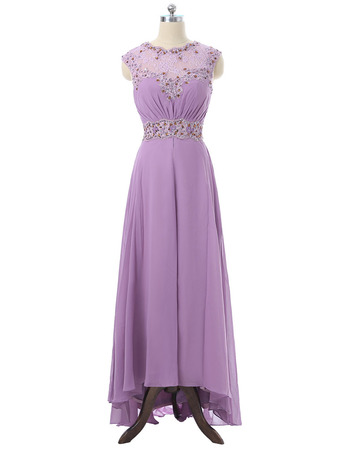 Stylish Elegant Sleeveless High-Low Long Chiffon Formal Mother Dress