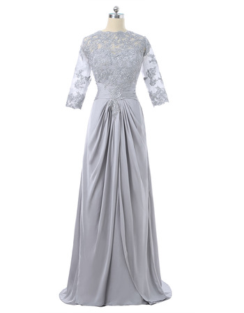 Affordable Elegant Long Chiffon Formal Mother Dress with 3/4 Long Sleeves