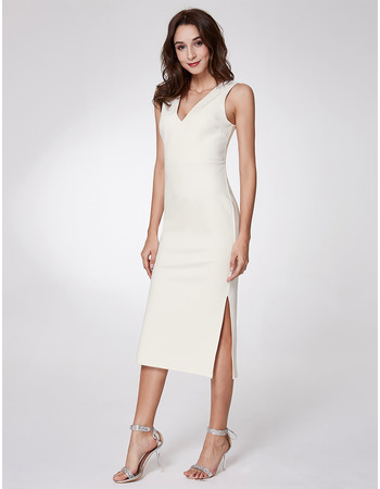 2018 Modest V-Neck Tea Length Satin Homecoming/ Cocktail Dress