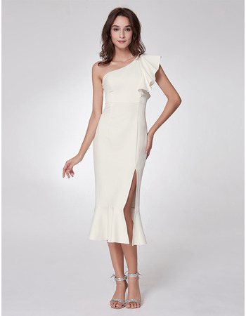 Modern One Shoulder Tea Length Satin Homecoming/ Party Dress