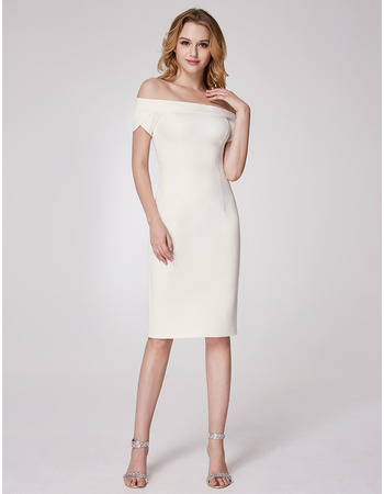 Classy Off-the-shoulder Knee Length Homecoming Dress with Short Sleeves