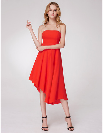 Custom Classy Strapless Asymmetric Tea Length Chiffon Homecoming Dress