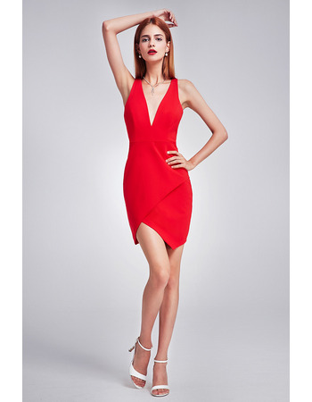 Custom Designer Sheath V-Neck Mini/ Short Satin Homecoming Party Dress