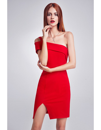 Inexpensive Sheath One Shoulder Red Mini Homecoming Party Dress