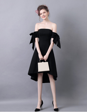 Sexy Strapless High-Low Satin Black Homecoming Party Dress with Bows for Girls