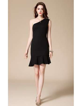 Girls Pretty One Shoulder Mini/ Short Satin Black Homecoming Party Dress