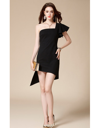 Sexy One Shoulder Mini/ Short Satin Black Homecoming Party Dress for Girls