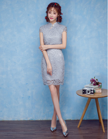 Elegant Column Mandarin Collar Mini/ Short Lace Homecoming Party Dress for Girls