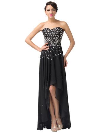 Girls 2018 Simple Sweetheart High-Low Chiffon Black Homecoming Dress