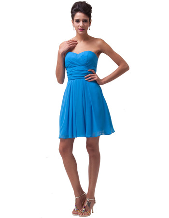 Simple Sweetheart Short Blue Chiffon Homecoming/ Graduation Dress