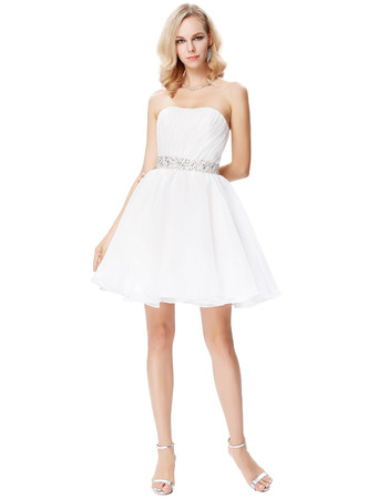 Simple A-Line Strapless Mini/ Short Homecoming/ Graduation Dress