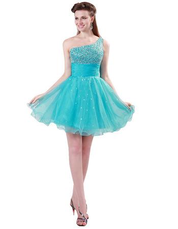 Custom A-Line One Shoulder Mini/ Short Homecoming/ Graduation Dress