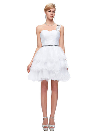 2018 Girls One Shoulder Mini/ Short Homecoming/ Graduation Dress