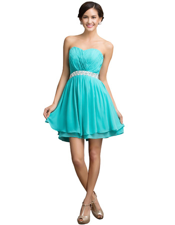 Girls Simple Sweetheart Mini/ Short Chiffon Homecoming/ Party Dress