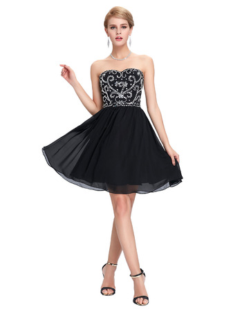Girls Sexy Sweetheart Mini/ Short Chiffon Black Homecoming/ Party Dress