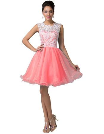 Girls Custom Mini/ Short Lace Taffeta Homecoming/ Birthday Party Dress