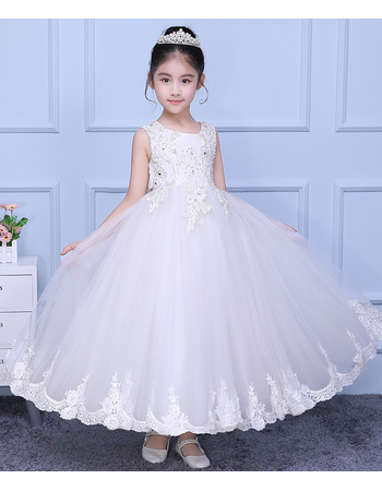 Inexpensive Amazing Ball Gown Ankle Length Organza Flower Girl Dress