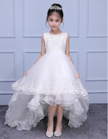 Adorable Beautiful Sleeveless High-Low Sweep Train Organza Flower Girl Dress