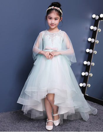 2018 New Stunning High-Low Sweep Train Organza Flower Girl Dress