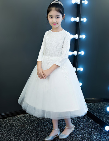 Custom Tea Length Lace Organza Flower Girl Dress with Long Sleeves
