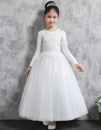 Affordable Lovely Ankle Length Satin Little Girls Party Dress with Long Sleeves