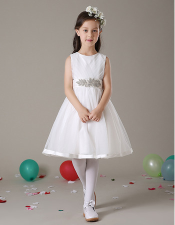 Little Girls Lovely A-Line Knee Length Satin Organza First Communion Dress/ Party Dress