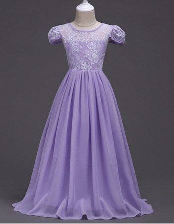 Affordable Beautiful Long Chiffon Lace Little Girl Pageant Dress with Cap Sleeves
