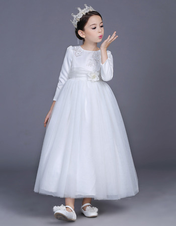 Kids Princess Ankle Length Satin Flower Girl Dress with Long Sleeves