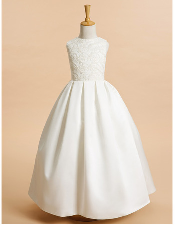 Lovely Ball Gown Long Satin Embroidery First Communion Dress