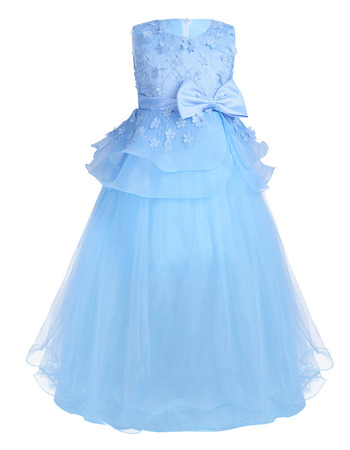 Custom Sleeveless Floor Length Applique Blue Little Girls Party Dress