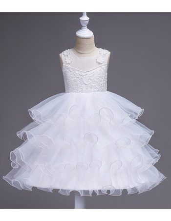 Kids Pretty A-Line Knee Length Layered Skirt Flower Girl Dress