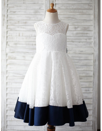 Girls Lovely Sleeveless Knee Length Lace Flower Girl Dress with Bow