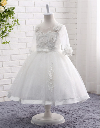 Girls Lovely Tea Length Organza Flower Girl Dress with 3/4 Long Sleeves