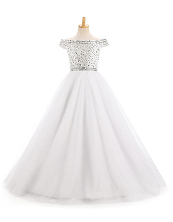 Lovley Off-the-shoulder Floor Length Flower Girl Dress for Wedding Party