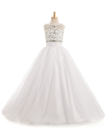 Stunning A-Line Sleeveless Floor Length Organza Flower Girl Dress