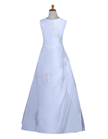 Simple A-Line Sleeveless Floor Length Satin Flower Girl Dress