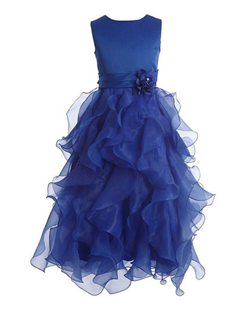 Beautiful Sleeveless Floor Length Ruffle Skirt Blue Flower Girl Dress