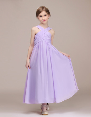 Adorable Ankle Length Chiffon Junior Bridesmaid Dress with Straps