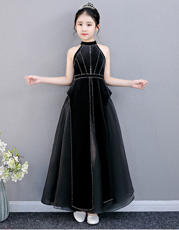 2019 Style Halter Ankle Length Black Junior Bridesmaid Dress