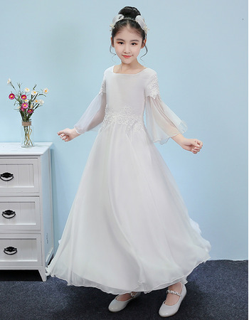 Custom Ankle Length Junior Bridesmaid Dress with 3/4 Long Sleeves