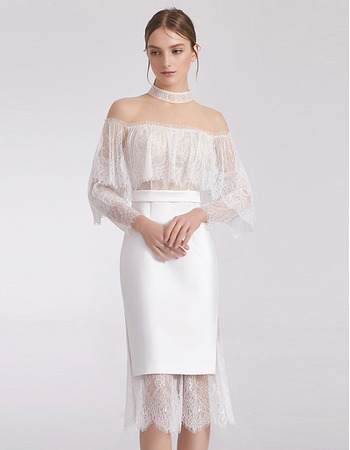 Sexy Sheath/ Column Short Cocktail/ Holiday Dress with Lace Sleeves