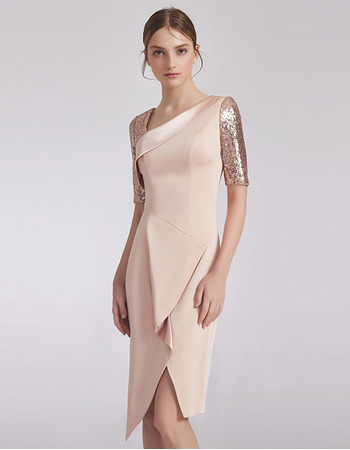 2019 Sheath Short Satin Cocktail/ Holiday Dress with Short Sleeves