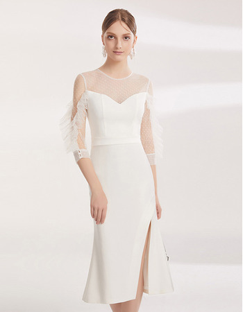 Elegant Sheath Tea Length Cocktail/ Holiday Dress with Sleeves