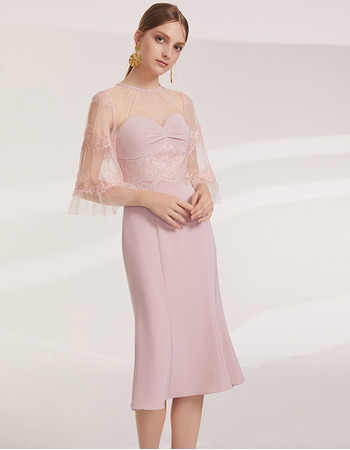2019 New Mermaid Knee Length Cocktail/ Holiday Dress with Sleeves