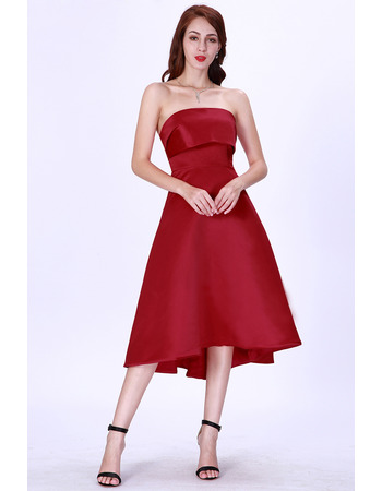 Affordable A-Line Strapless Short Satin Cocktail/ Holiday Dress