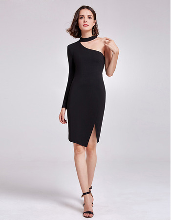 Sexy Sheath One Shoulder Short Satin Black Cocktail/ Holiday Dress