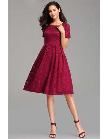 2019 Knee Length Lace Cocktail/ Holiday Dress with Short Sleeves